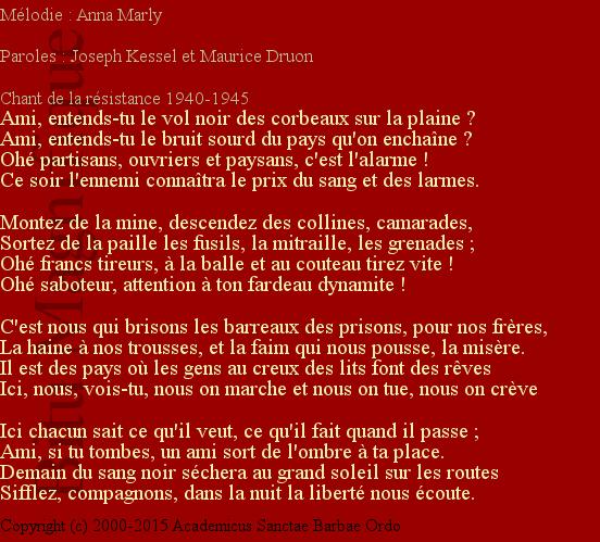 ... langue français références p 205 du bitu magnifique paroles